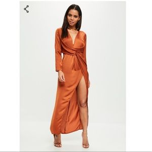 Orange Front Twist Maxi Dress